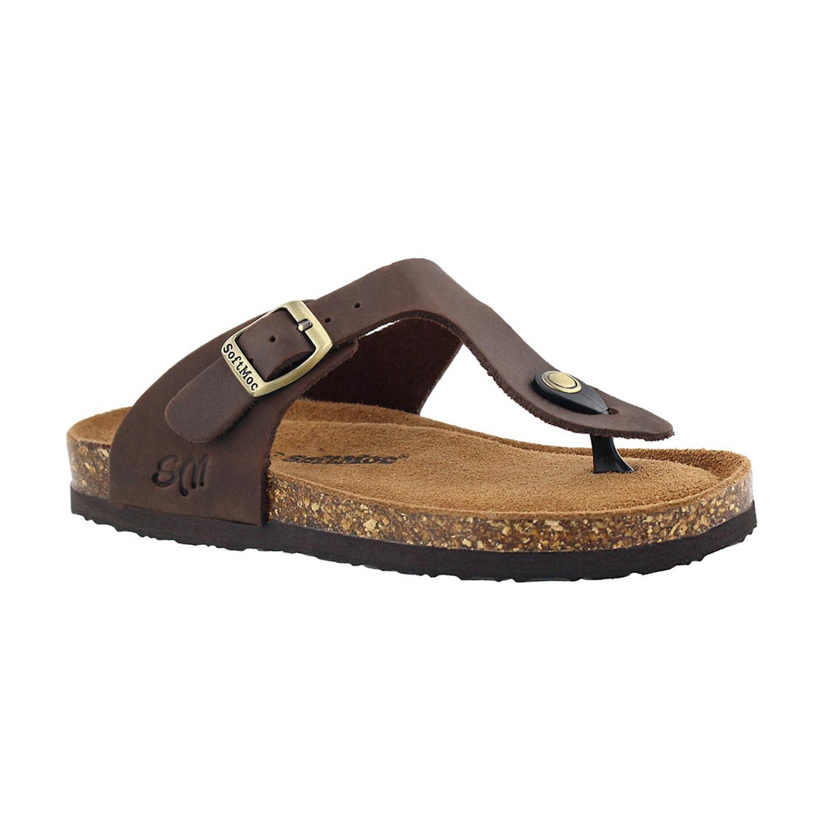 Girls' ANGY 5 brown memory foam thong sandals