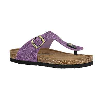 Grls Angy 5 purp memory foam thng sandal