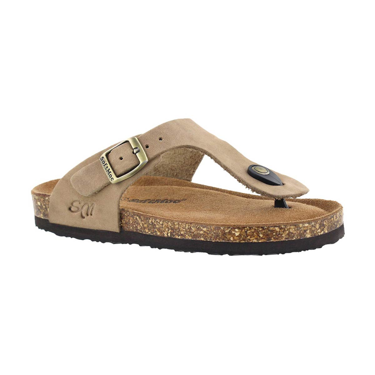 Girls' ANGY 5  taupe memory foam thong sandals