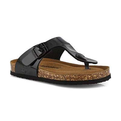 Grls Angy 6 blk pat mem foam thng sandal