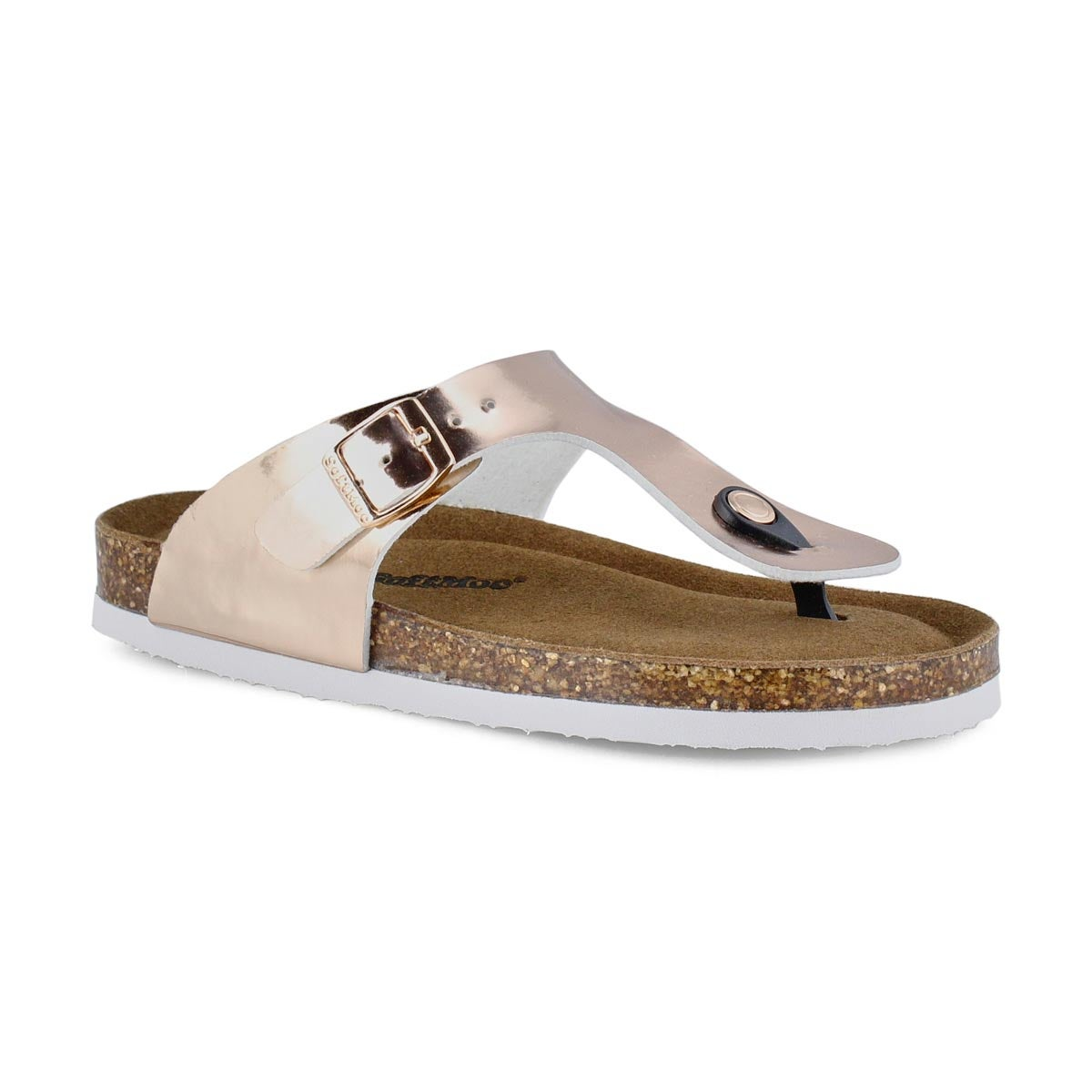 Grls Angy 6 gld pat mem foam thng sandal