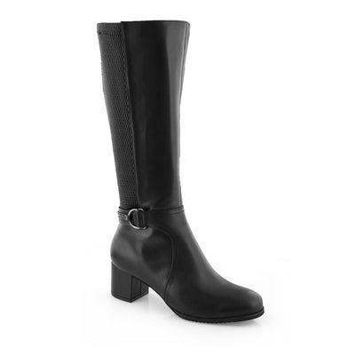 Lds Anjelica blk wp wide calf tall boots
