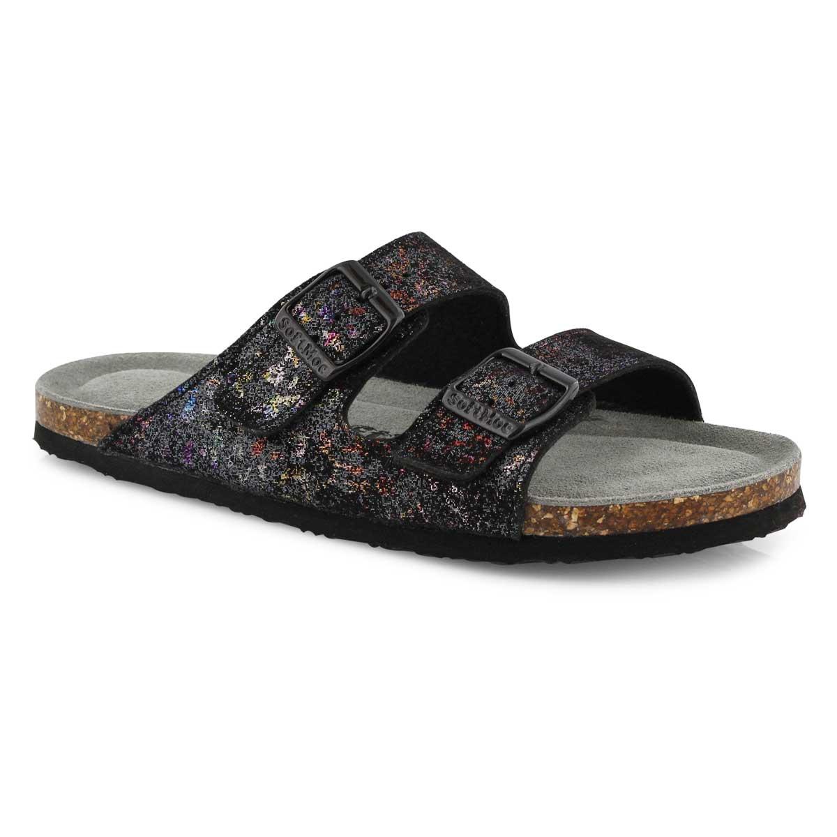 Lds Anna Slim blk mlti slide sandal
