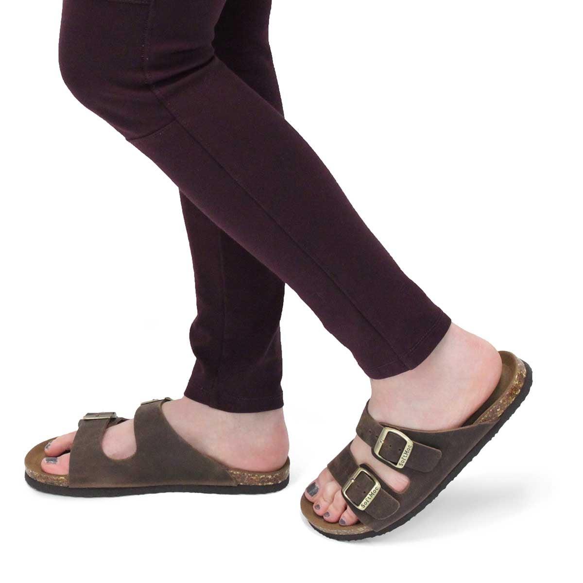 Lds Anna Slim brown slide sandal
