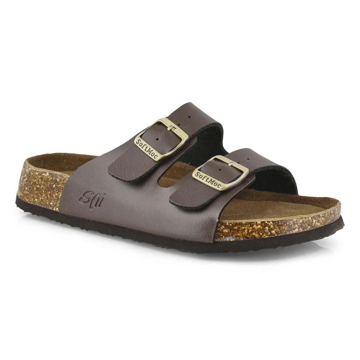 Lds Anna 5 PU brn memory foam sld sandal