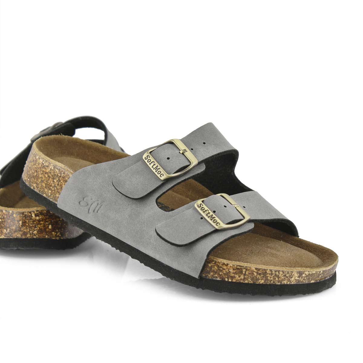 Lds Anna 5 PU gry memory foam sld sandal