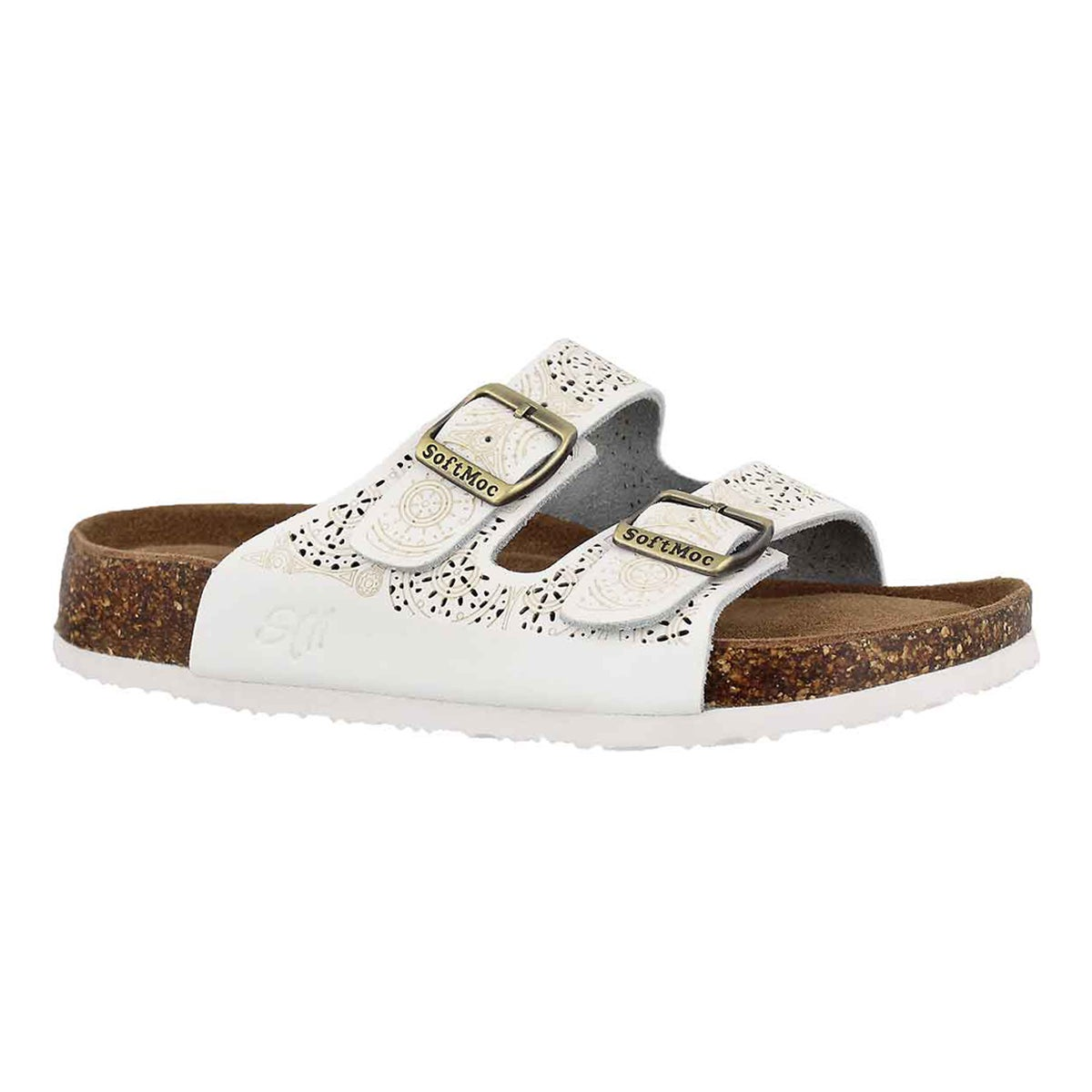 Women's ANNA 5 white perforated slide sandals