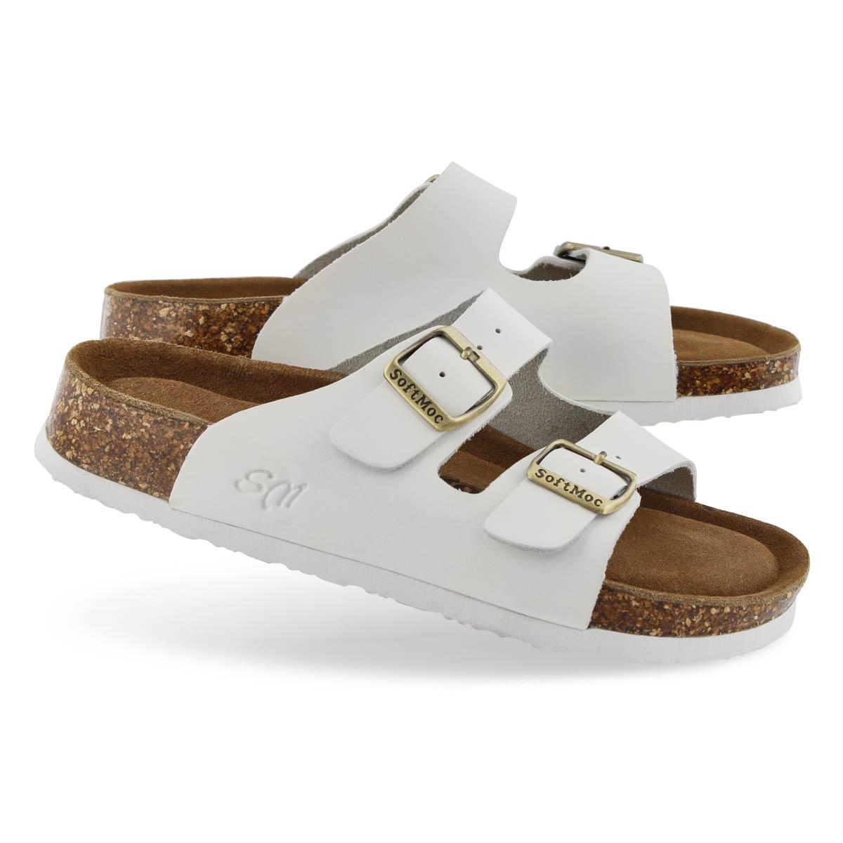 Lds Anna 5 wht memory foam slide sandal