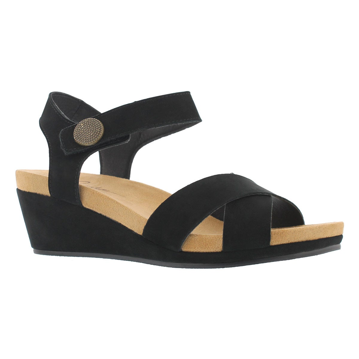 Women's ANNALISA black casual wedge sandals