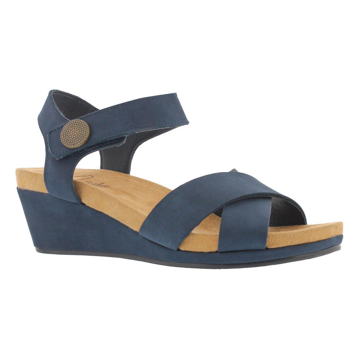 Women's ANNALISA navy casual wedge sandals