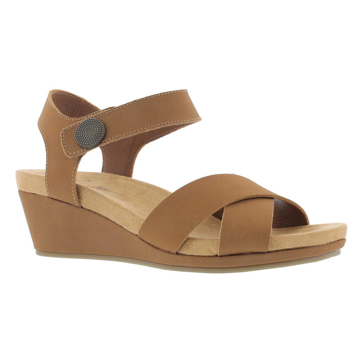 Women's ANNALISA tan casual wedge sandals