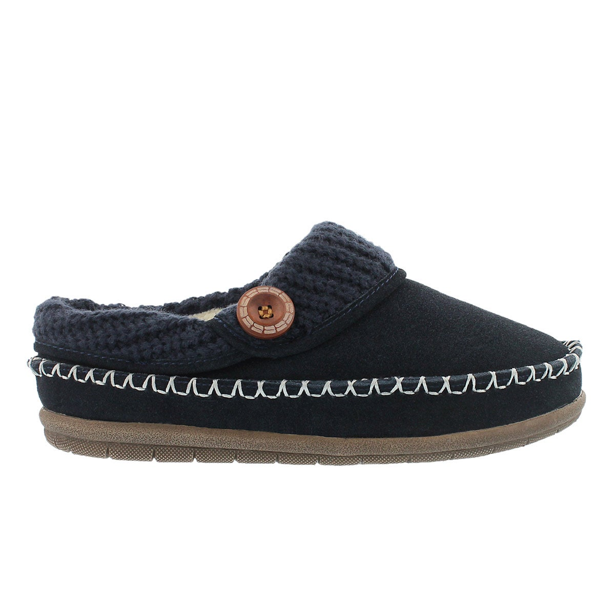 Lds Annalise navy open back slipper