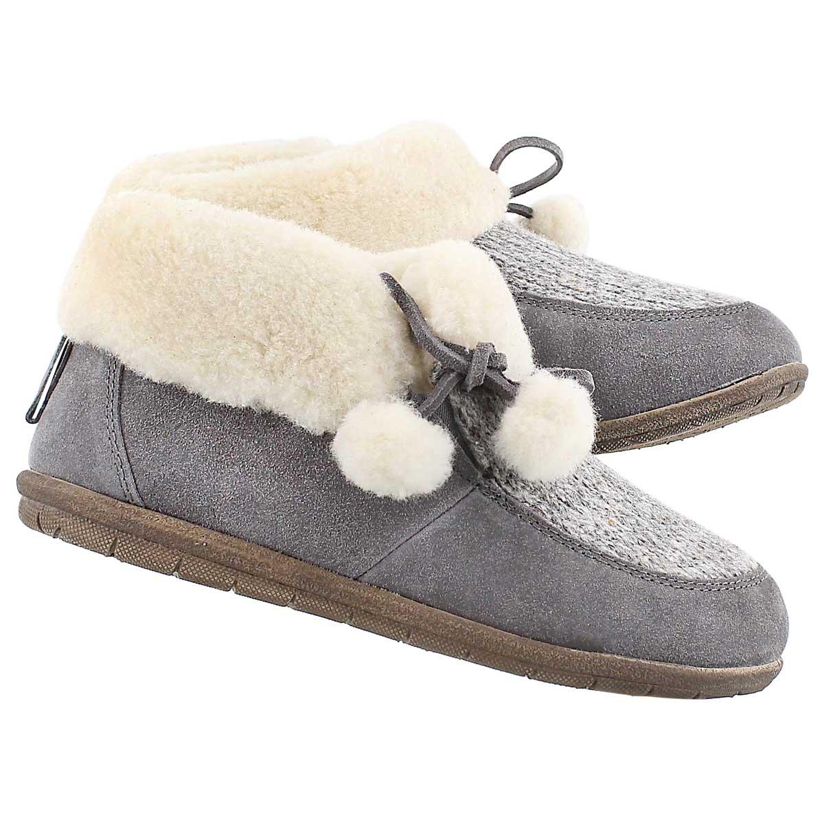 Lds Aspen grey closed back slipper