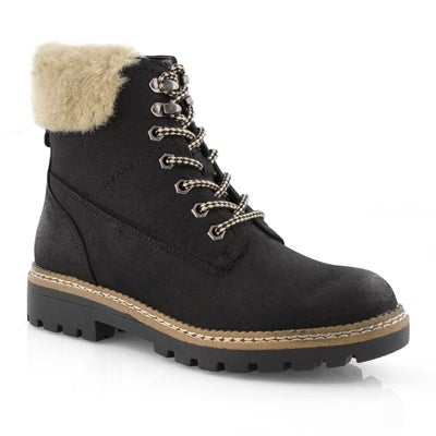 Lds Astrixx black lace up casual boot