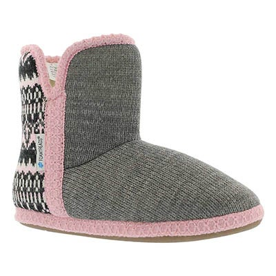 Lds Audrey grey/pink bootie slipper