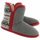 Lds Audrey grey/red bootie slipper