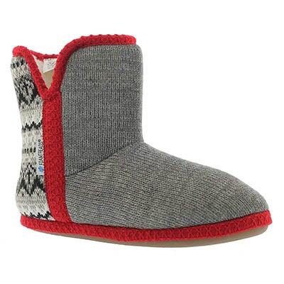 Foamtreads Women's AUDREY grey/red bootie slippers