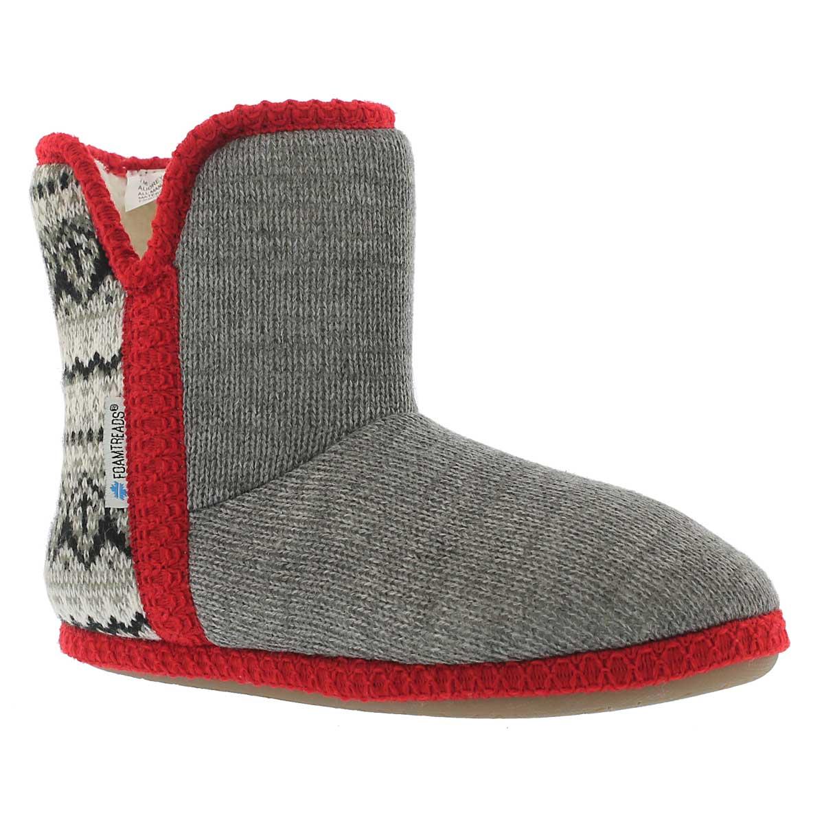 Women's AUDREY grey/red bootie slippers