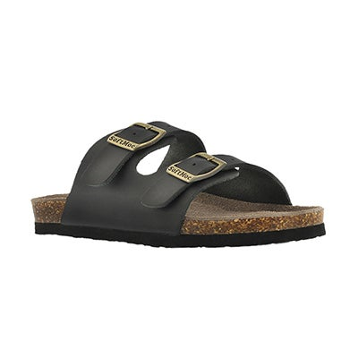 SoftMoc Kids' AURORA 2 black 2 strap slide sandals