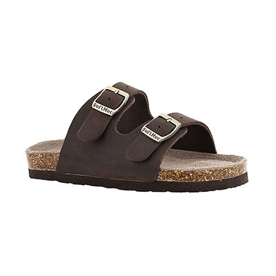 SoftMoc Kids' AURORA 2 brown 2 strap slide sandals