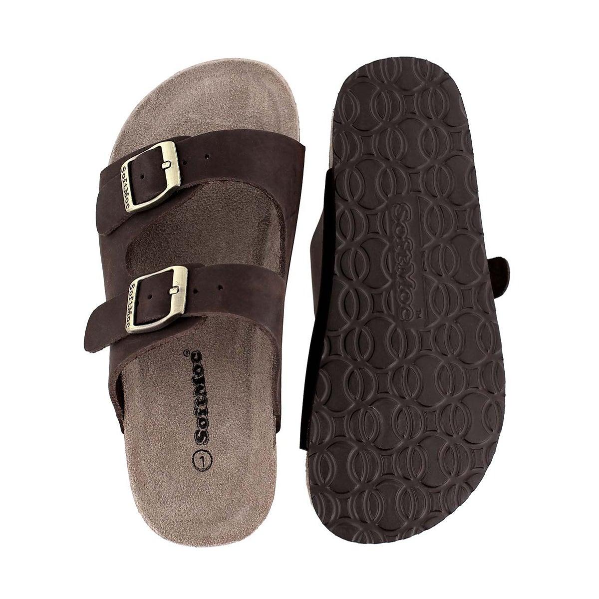 Kds Aurora 2 brown 2 strap slide sandal