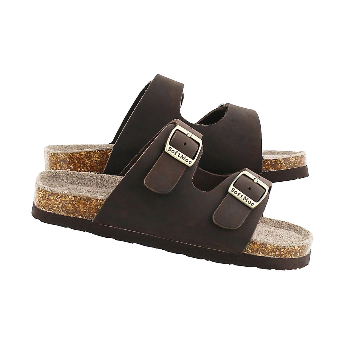 Kds Aurora 2 brown 2 strap slide sandal