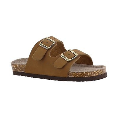 SoftMoc Kids' AURORA 2 tan 2 strap slide sandals