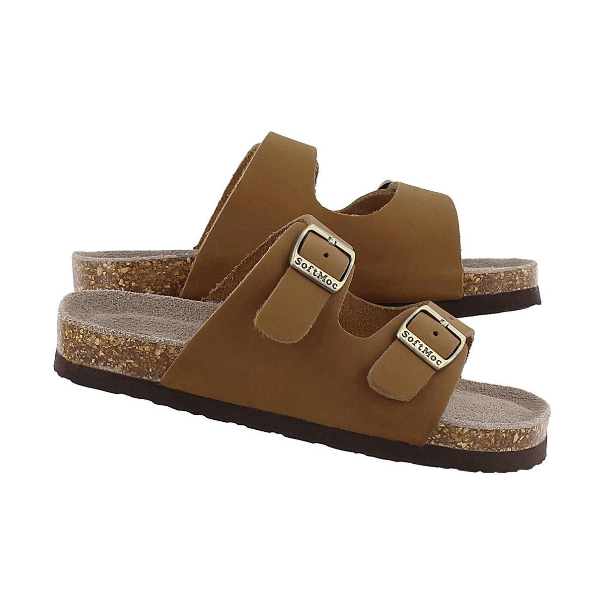 Kds Aurora 2 tan 2 strap slide sandal