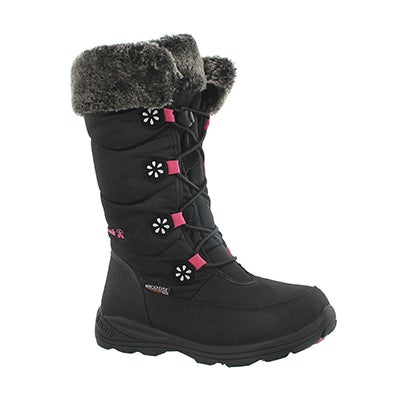 Grls Ava black tall bungee winter boot