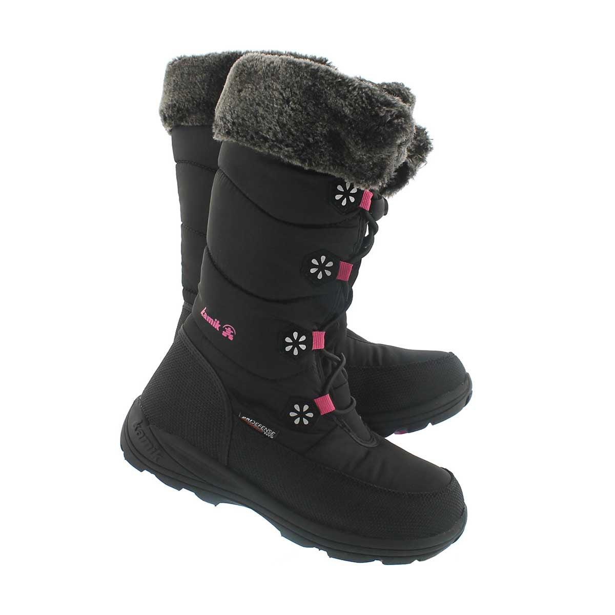 Grls Ava black tall bungee winter boot