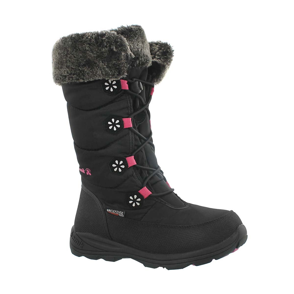Girls' AVA black tall bungee winter boots