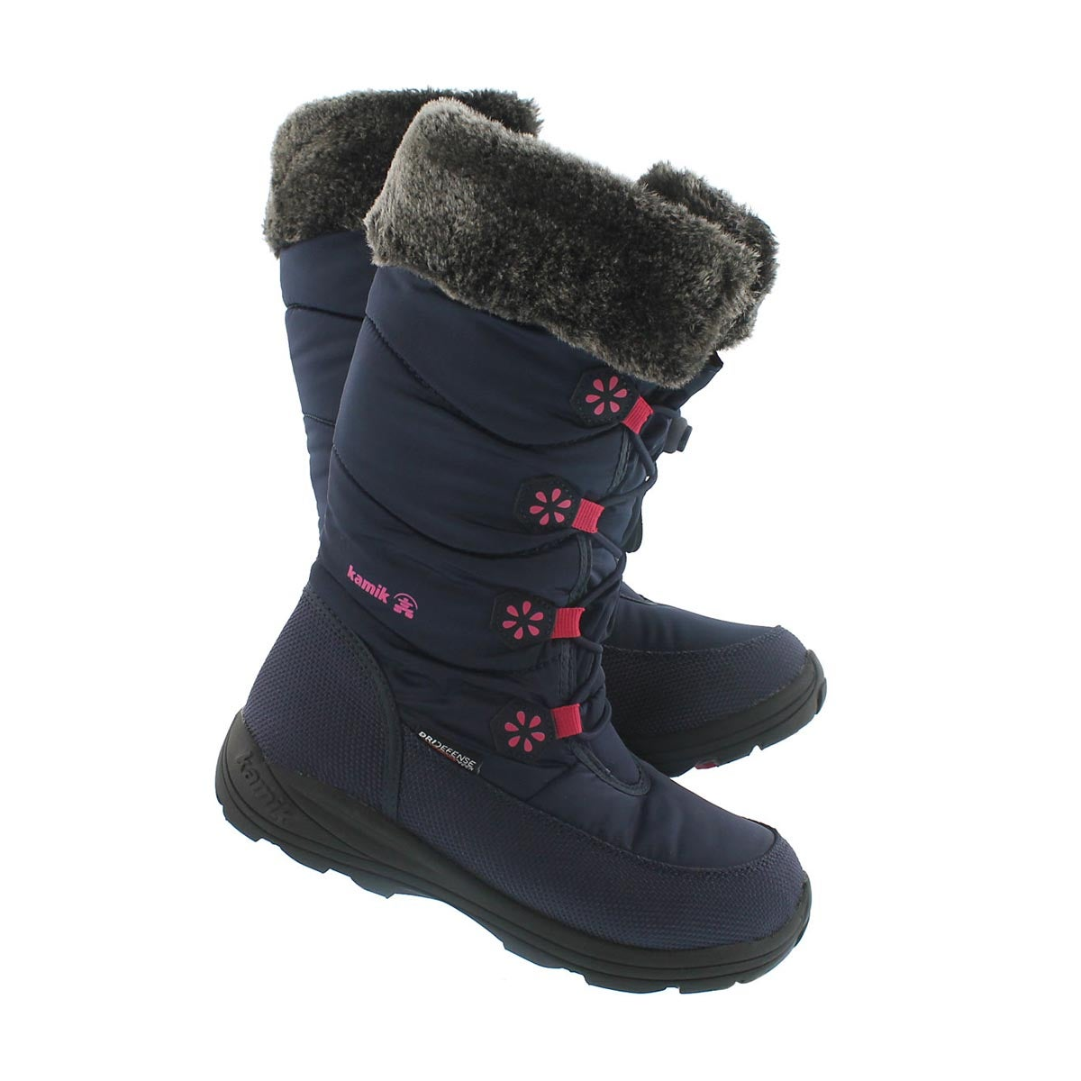 Grls Ava navy tall bungee winter boot