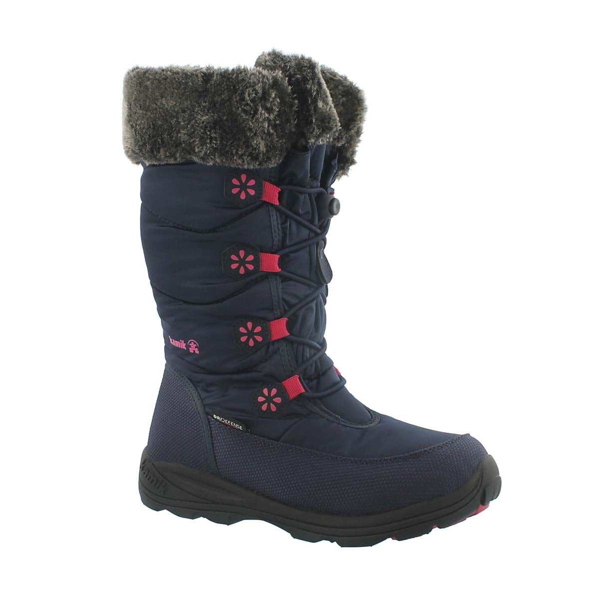 Girls' AVA navy tall bungee winter boots