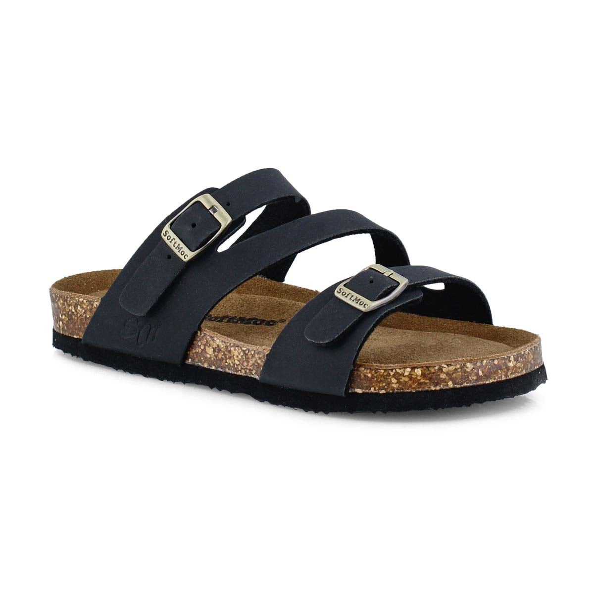 Girls AVALON 5 black crazyhorse memory foam sandal