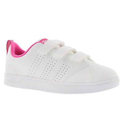 Adidas Girls' ADVANTAGE CLEAN white/pink sneakers