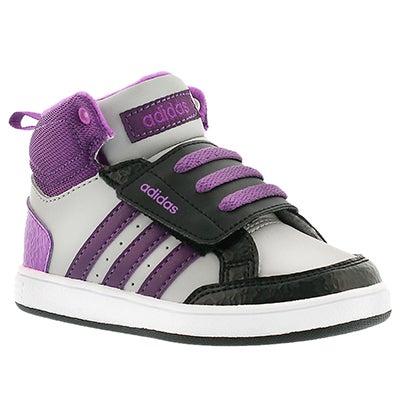 Adidas Infants' HOOPS CMF MID purple hook&loop sneakers