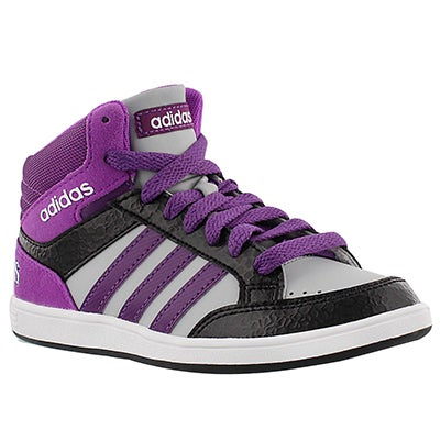 Adidas Girls' HOOPS MID black/purple lace up sneakers