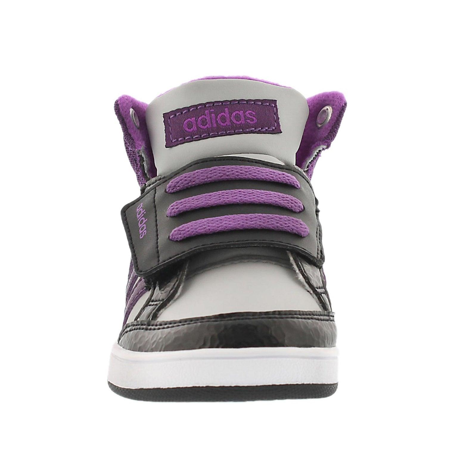 Grls Hoops Mid blk/ppl lace up sneaker