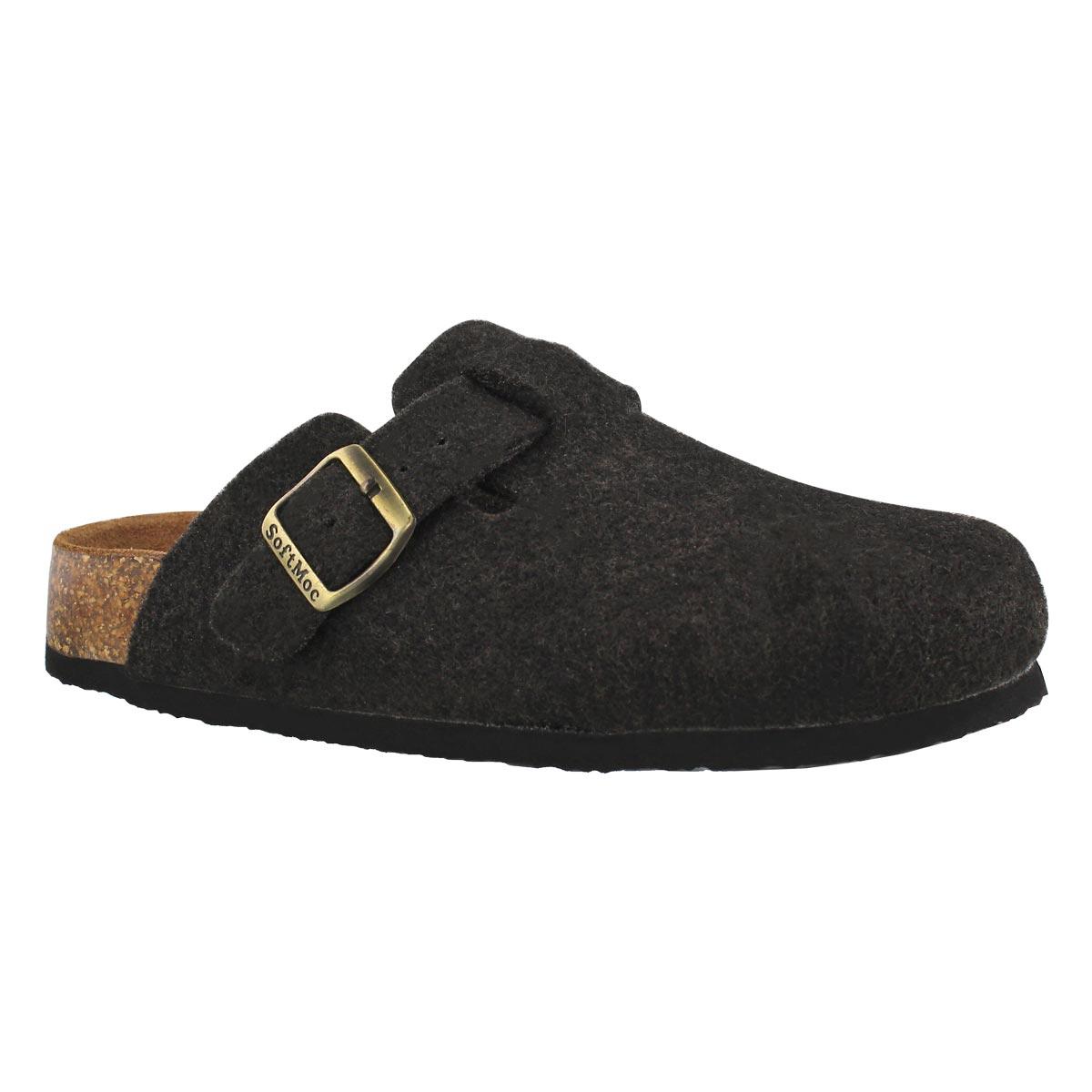 Lds Ayr 5 black wool casual clog