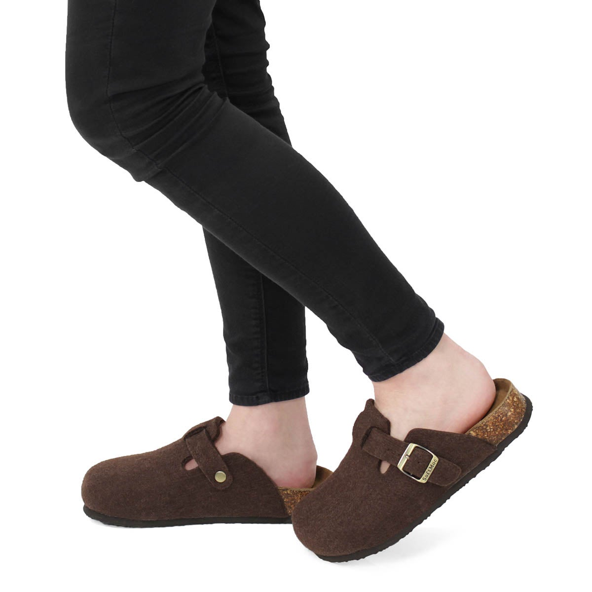 Lds Ayr 5 brown wool casual clog