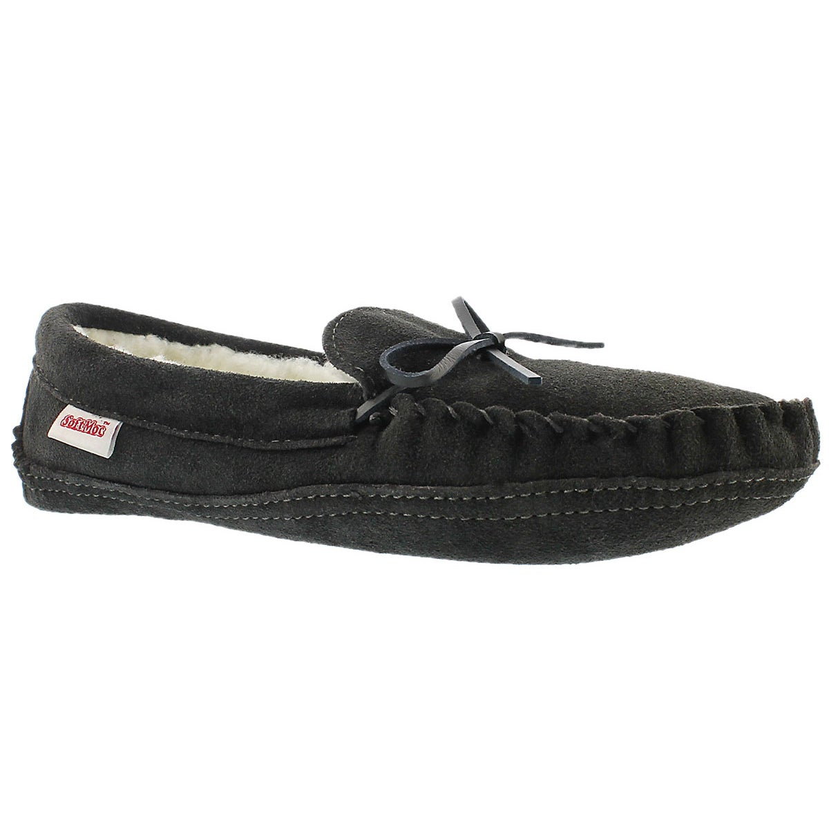 Mns grey suede fur lined moccasin