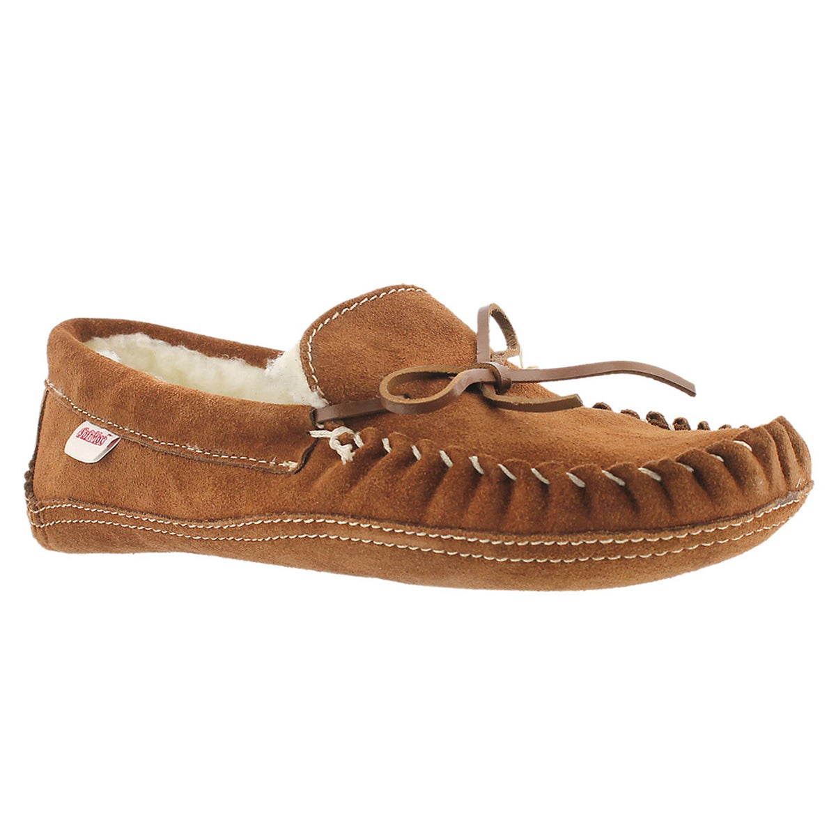 Mns mocha suede fur lined moccasin