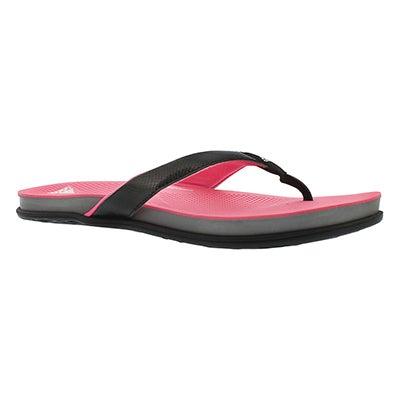 Lds Supercloud Plus blk/pnk thong sandal