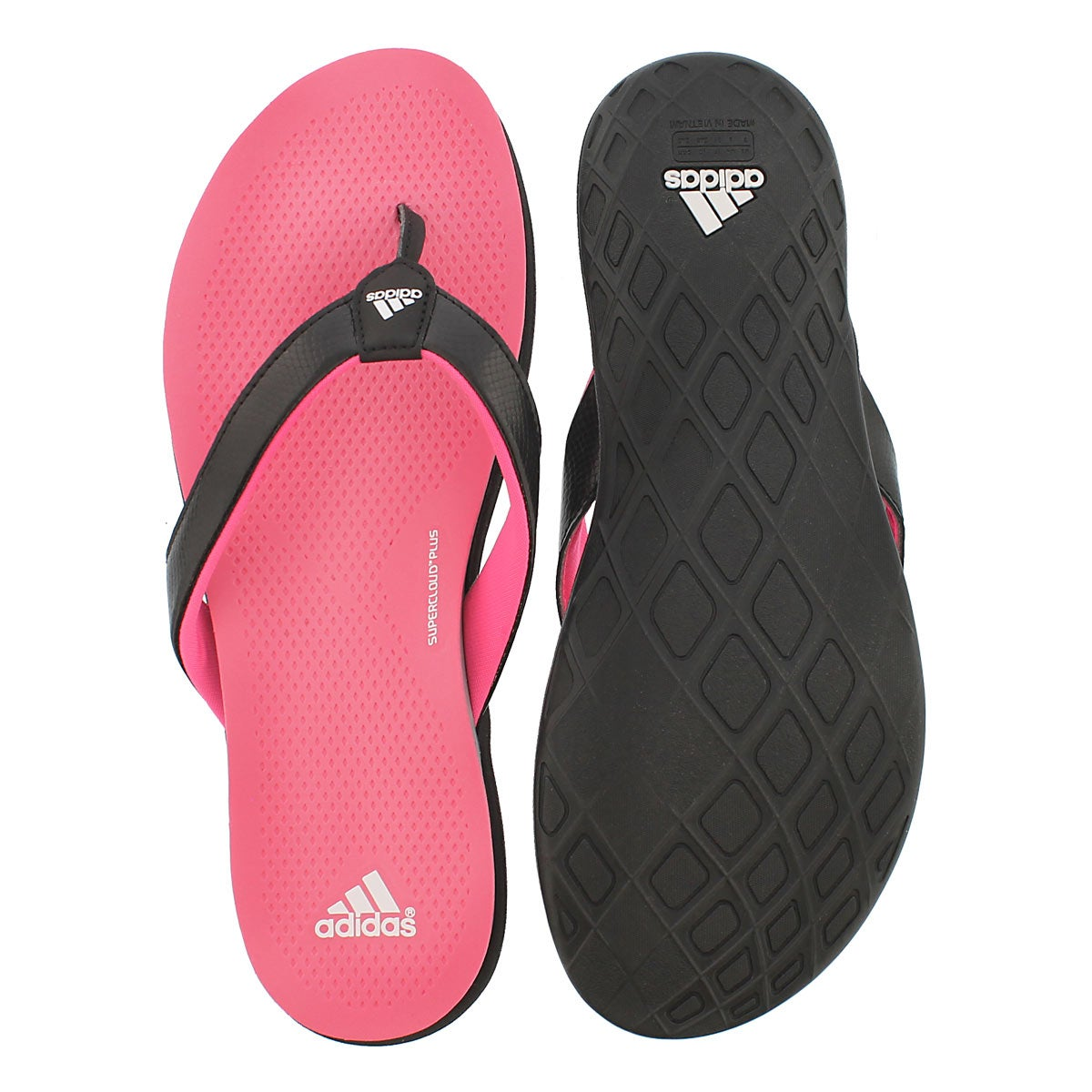 Lds Supercloud Plus blk/pnk thong sandal
