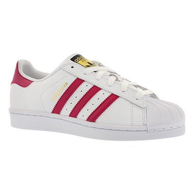 Adidas Girls' SUPERSTAR wht/pnk lace up sneakers