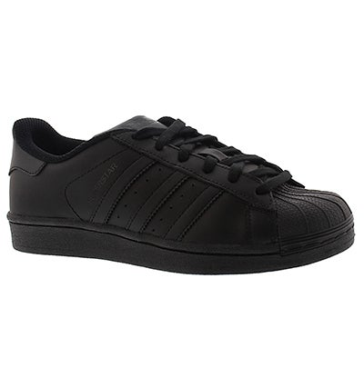 Adidas Boys' SUPERSTAR black/black lace up sneakers