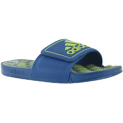 Adidas Men's ADISSAGE 2.0 blue/lime slide sandals