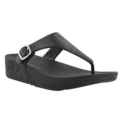 Lds Skinny blk side buckle thong sandal