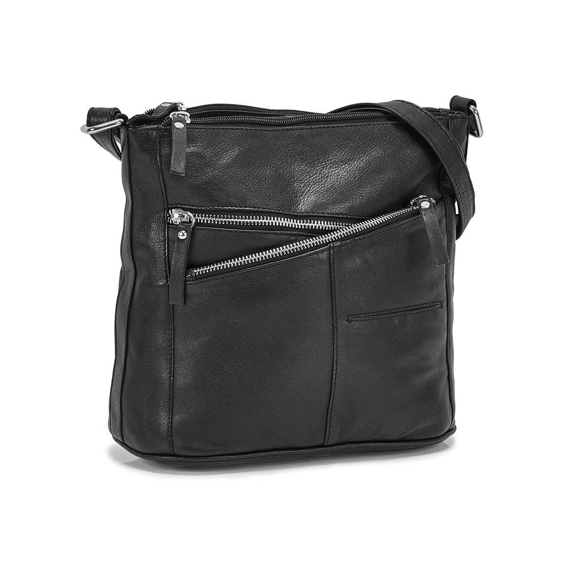 Lds Caroline blk 2 top zip crossbody bag