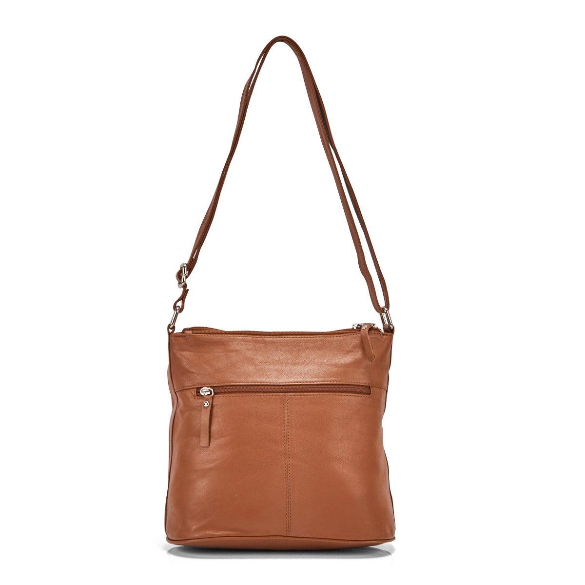 Lds Caroline tan 2 top zip crossbody bag